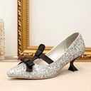 Women's Sparkling Glitter Spool Heel Pumps With Bowknot Lace-up shoes