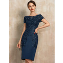 Sheath/Column Scoop Neck Knee-Length Satin Lace Cocktail Dress With Sequins (016230349)