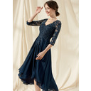 A-Line V-neck Asymmetrical Chiffon Lace Cocktail Dress With Sequins (016252929)
