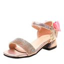 Girl Peep Toe Microfiber Leather Sandals Flower Girl Shoes With Bowknot Buckle Rhinestone