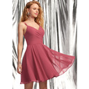 A-Line V-neck Short/Mini Chiffon Homecoming Dress With Ruffle (022236582)