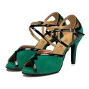 Women's Leatherette Suede Heels Sandals Latin With Buckle Hollow-out Dance Shoes