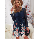 Floral Lace Print Shift V-Neck Long Sleeves Midi Casual Tunic Dresses (294255628)