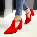 Women's Suede Chunky Heel Pumps Closed Toe With Braided Strap shoes