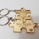 Personalized Puzzle Pieces Acrylic Keychains (Set of 2)