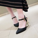 Women's Leatherette Stiletto Heel Sandals Pumps Closed Toe Slingbacks With Buckle shoes