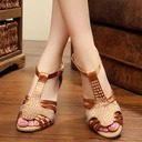 Women's Satin Sandals Pumps Latin With Rhinestone Dance Shoes