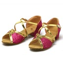 Women's Leatherette Sparkling Glitter Sandals Latin With Buckle Hollow-out Dance Shoes