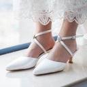 Women's Satin Stiletto Heel Closed Toe Pumps Sandals Slingbacks Dyeable Shoes With Rhinestone