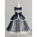 Ball-Gown/Princess Tea-length Flower Girl Dress - Tulle/Lace Sleeveless Scoop Neck With Beading (010225299)