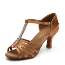 Women's Satin Heels Sandals Latin With T-Strap Hollow-out Dance Shoes