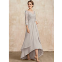 A-Line Scoop Neck Asymmetrical Chiffon Lace Mother of the Bride Dress (008235568)