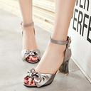 Women's Leatherette Chunky Heel Sandals Pumps Peep Toe With Rhinestone Bowknot Buckle shoes