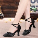 Women's Satin Heels Sandals Ballroom With Buckle Hollow-out Dance Shoes