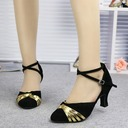 Women's Suede Heels Sandals Ballroom With Buckle Hollow-out Dance Shoes