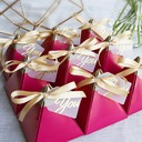 Forever Love Card Paper Favor Boxes With Ribbons (Set of 30)