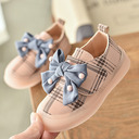 Girl's Round Toe Closed Toe Leatherette Flat Heel Flats Sneakers & Athletic Flower Girl Shoes With Bowknot Velcro