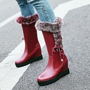 Women's PU Chunky Heel Flats Platform Wedges Knee High Boots With Lace-up Fur shoes