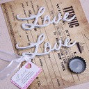 """Love"" Stainless Steel/Linen Bottle Openers With Tag (Set of 20)"