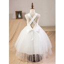 Ball-Gown/Princess Sweetheart Tea-Length Satin Tulle Lace Junior Bridesmaid Dress With Bow(s) (009256465)