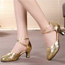 Women's Leatherette Sparkling Glitter Heels Sandals Ballroom With Hollow-out Dance Shoes
