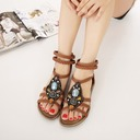 Women's Leatherette Flat Heel Sandals With Rhinestone shoes