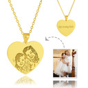 Custom 18k Gold Plated Silver Heart Engraving/Engraved Tag Black And White Photo Engraved Heart Necklace Engraved Necklace Photo Necklace - Birthday Gifts