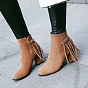 Women's Suede Chunky Heel Pumps Ankle Boots With Zipper Tassel shoes