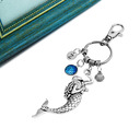 Personalized Mermaid Stainless Steel Keychains With Rhinestone