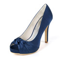 Women's Silk Like Satin Stiletto Heel Peep Toe Platform Pumps With Ruffles