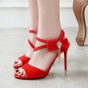 Women's Suede Stiletto Heel Sandals Pumps Peep Toe With Tassel shoes
