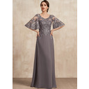 A-Line Scoop Neck Floor-Length Chiffon Lace Mother of the Bride Dress With Sequins (008225570)
