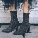 Women's Fabric Chunky Heel Pumps Mid-Calf Boots With Elastic Band shoes