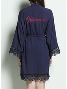 Cotton Bridesmaid Lace Robes Glitter Print Robes