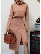 Solid Sheath High Neck Long Sleeves Midi Casual Dresses
