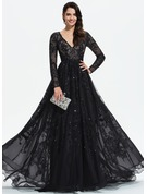 Ball-Gown/Princess V-neck Sweep Train Tulle Evening Dress With Lace Sequins