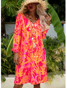 Print Shift V-Neck Long Sleeves Midi Casual Vacation Tunic Dresses