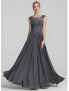 Scoop Neck Floor-Length Chiffon Evening Dress