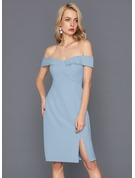 Sheath/Column Off-the-Shoulder Knee-Length Stretch Crepe Cocktail Dress With Split Front