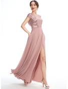 A-Line Scoop Neck Floor-Length Bridesmaid Dress With Sequins Split Front