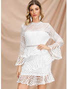 Cotton/Lace With Lace Above Knee Dress