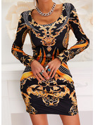 Print Bodycon Round Neck Long Sleeves Midi Elegant Vintga Dresses
