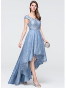 A-Line V-neck Asymmetrical Tulle Lace Prom Dresses