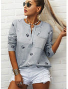 Regular Cotton Blends V-Neck Animal Print Fitted Blouses