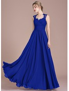 A-Line Sweetheart Floor-Length Chiffon Lace Evening Dress With Ruffle Bow(s)