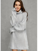 Solid Polyester Turtleneck Pullovers Sweater Dresses Sweaters