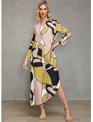 Polyester With Color-block/Slit Maxi Dress