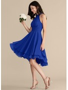 Scoop Neck Asymmetrical Chiffon Bridesmaid Dress With Ruffle