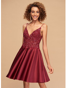 A-Line V-neck Short/Mini Satin Homecoming Dress With Lace Beading Sequins