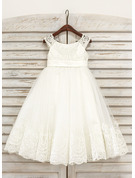 Tea-length Flower Girl Dress - Tulle Sleeveless Scoop Neck With Lace